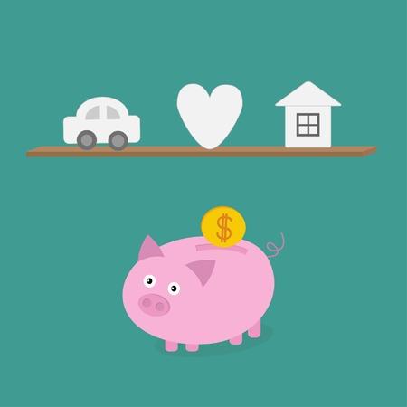 Piggy bank an shelf with car heart love house. Flat design. Vector illustration Vector