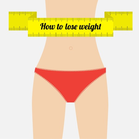 liposuction: Woman figure waist red underwear.  How to lose waight measuring tape. Flat design. Vector illustration
