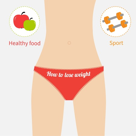 perfect female body: Woman figure waist red underwear. Healthy food, sport. How to lose waight. Flat design. Vector illustration Illustration