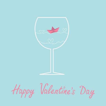 Origami paper boat and heart wave inside wine glass. Valentines day card. Vector illustration Vector