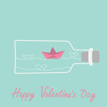 Origami paper boat and heart wave inside wine bottle. Valentines day card. Vector illustration Vector