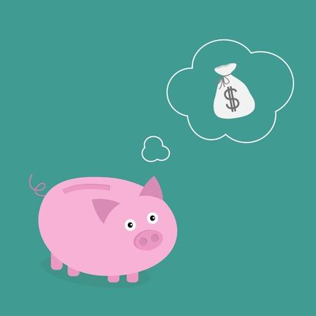 think about: Piggy bank dream about money bag. Think bubble empty. Flat design. Vector illustration