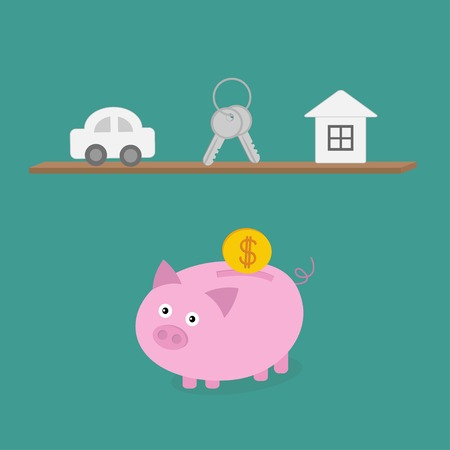 Piggy bank an shelf with car key house. Flat design. Vector illustration Vector