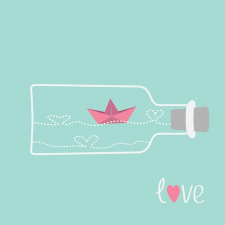 Origami paper boat and heart wave inside wine bottle. Love card. Vector illustration Vector