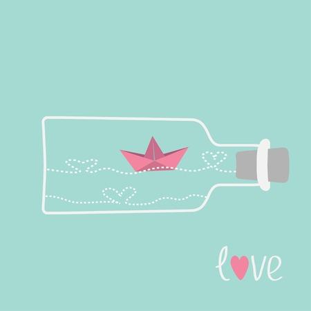 Origami paper boat and heart wave inside wine bottle. Love card. Vector illustration Vector
