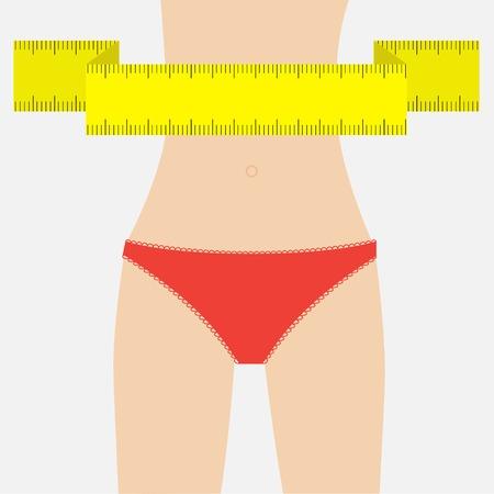Vrouw figuur taille rood ondergoed. Meetlint. Platte design. Vector illustratie Stock Illustratie