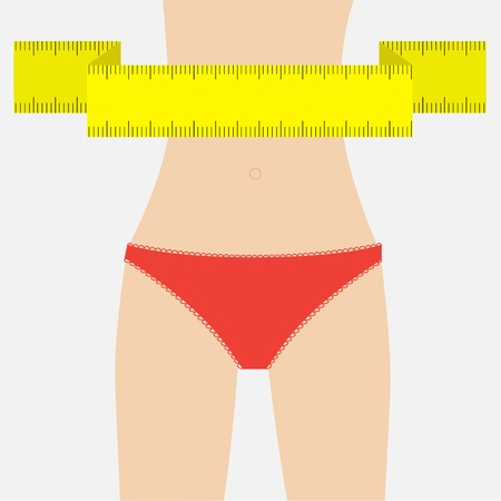 waist: Woman figure waist red underwear.  Measuring tape. Flat design. Vector illustration Illustration