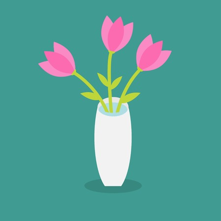 Bouquet of pink tulip flowers in a vase. Flat design. Vector illustration