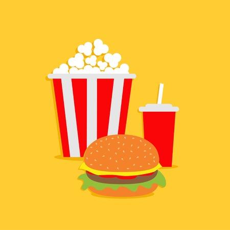 Popcorn, hamburger, soda with straw.  Cinema icon in flat dsign style. Vector illustration Vector