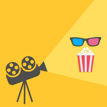 Cinema projector with light and popcorn and 3D glasses.  Flat design. Vector illustration Vector