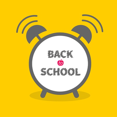 round back: Alarm cloack with chalk text yellow background  Back to school  Flat design  Vector illustration