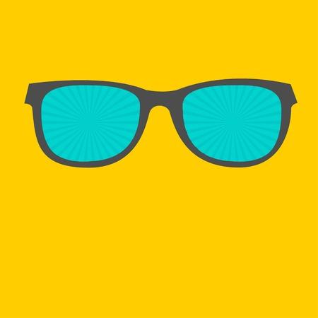 corrective lenses: Sunglasses with sunburst glasses  Flat design style  Vector illustration