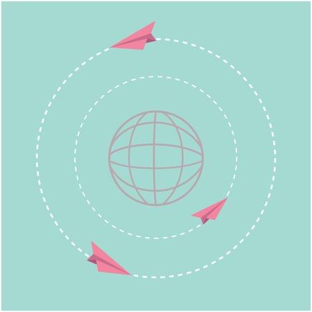 Origami paper plane and world globe  Dash line circle  Flat design  Vector illustration Vector