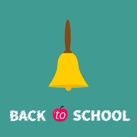Yellow bell with handle  Back to school chalk text  Flat design  Vector illustration Vector