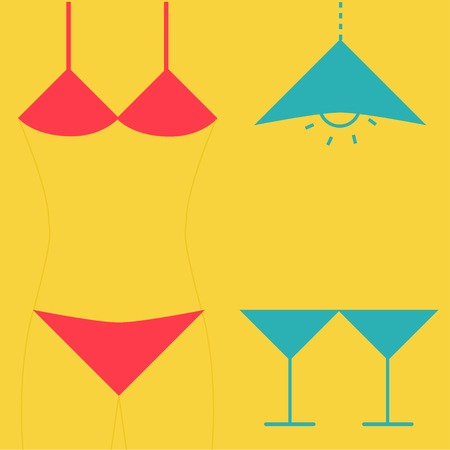 inverted: Swimsuit  martini glasses and lamp  Inverted icon set  Flat design  Vector illustration