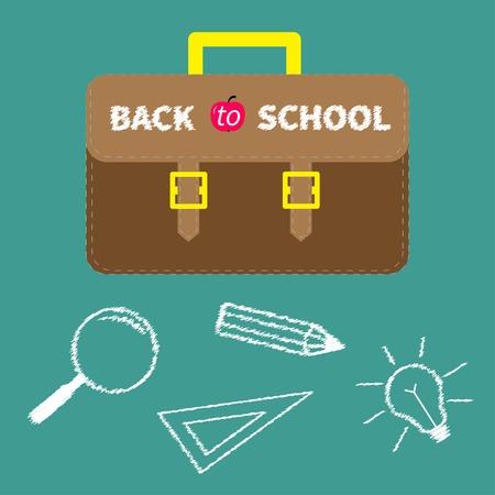 Schoolbag briefcase  Magnifier, pencil, light bulb, ruller chalk effect  Flat design style  Vector illustration Vector