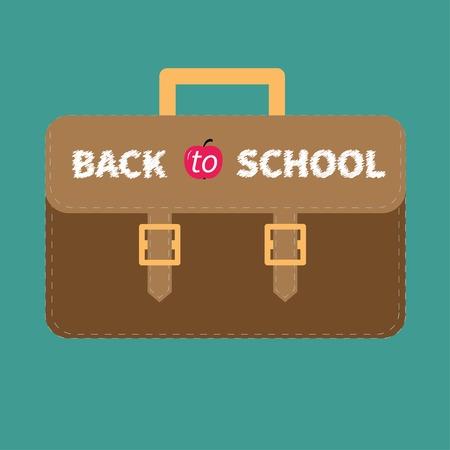 Big brown schoolbag briefcase  Flat design style  Vector illustration Vector