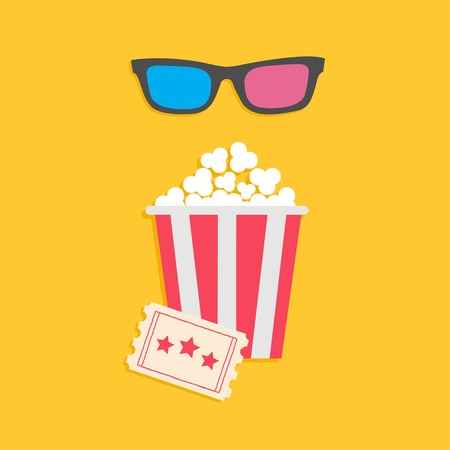 3 d glasses: 3D glasses big popcorn and ticket  Cinema icon in flat dsign style  Vector illustration