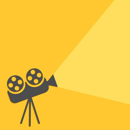 ray of light: Cinema projector with ray of light  Flat design  Vector illustration