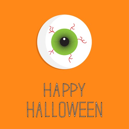 halloween eyeball: Eyeball bloody streaks. Happy Halloween card. Flat design style. Vector illustration