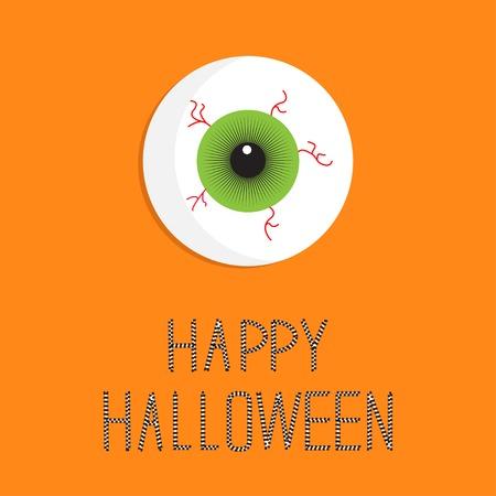 Eyeball bloody streaks. Happy Halloween card. Flat design style. Vector illustration