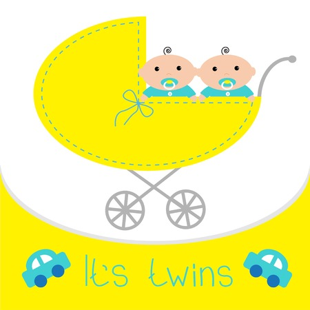 Baby carriage. Its twins boys. Shower card. Flat design. Vector illustration Illustration