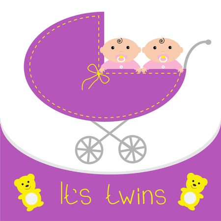 Baby carriage. Its twins girls. Shower card. Flat design. Vector illustration Vector