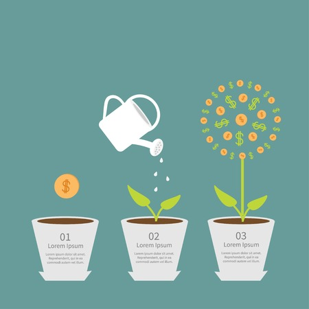 plant pot: Coin seed, watering can, dollar plant. Financial growth concept. Flat design infographic. Vector illustration