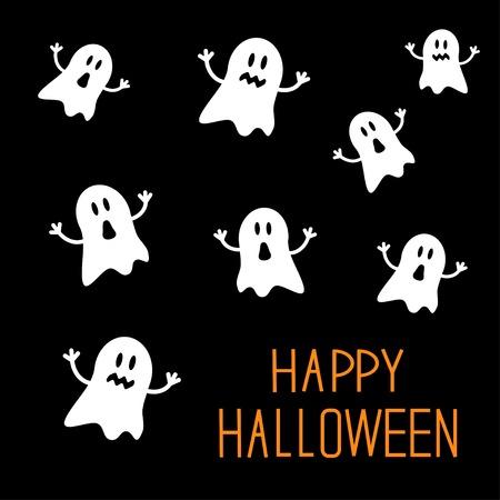 Velen schrikken geesten. Happy Halloween-kaart. Plat ontwerp. Vector illustratie