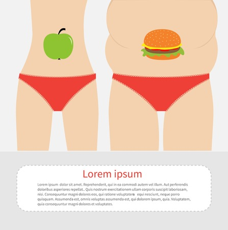 Woman fat and skinny figure red underwear. Healthy unhealthy food apple hamburger Before after infographic Flat design Vector illustration Vector
