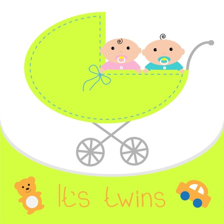 Baby carriage. Its twins boy and girl. Shower card. Flat design. Vector illustration Vector