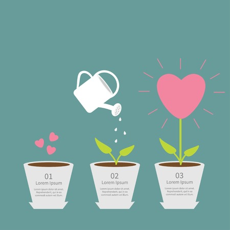 Heart seed, watering can, love plant. Growth concept.  Flat design infographic. Vector illustration