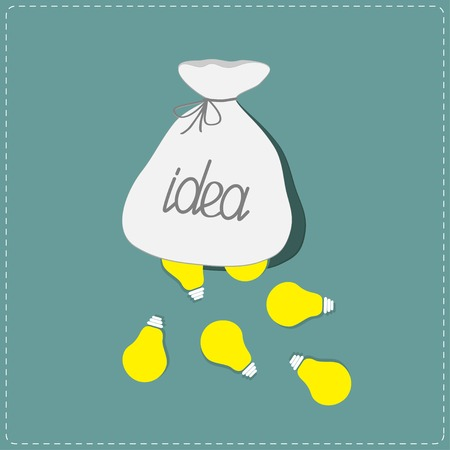 Light bulbs falling out of the bag. Idea concept. Flat design style. Vector illustration Vector