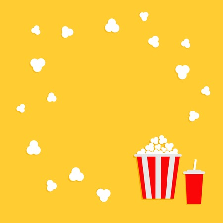 Popcorn round frame. Cinema icon in flat dsign style. Vector illustration