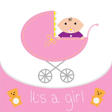 Baby pink carriage. Its a girl. Flat design style. Vector illustration Vector