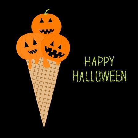 Ice cream with pumpkin Happy Halloween card Flat design style. Vector illustration