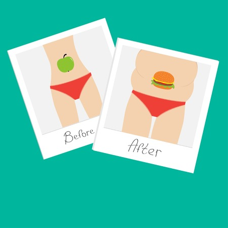 Healthy unhealthy food apple hamburger Before after instant photo.  Vector