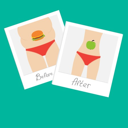 From fat to skinny woman. Healthy unhealthy food apple hamburger Before after instant photo. Flat design. Vector illustration  イラスト・ベクター素材