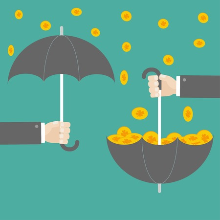 Businessman hand holding umbrella with success gold clover coin. Flat design. Vector illustration Illustration