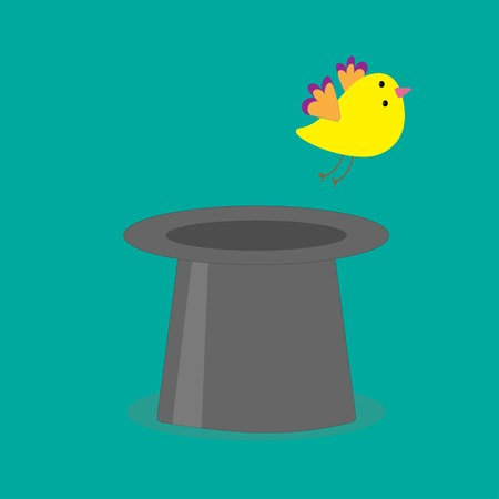 flying hat: Magic black hat with yellow flying bird. Flat design style. Vector illustration