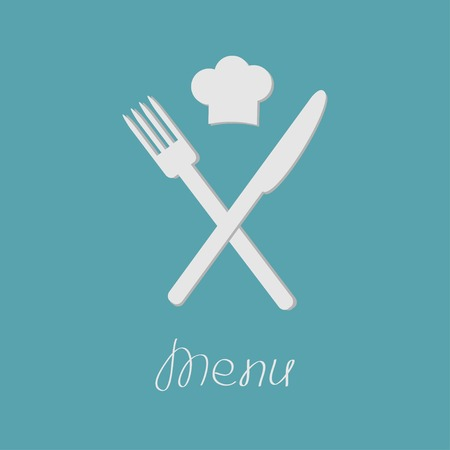 Fork knife and chefs hat on the top. Menu card. Flat design style. Vector illustration Vector