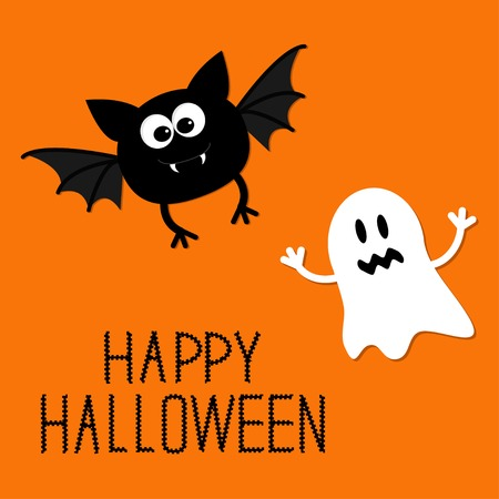 Cute cartoon bat and ghost. Happy Halloween card. Flat design. Vector illustration