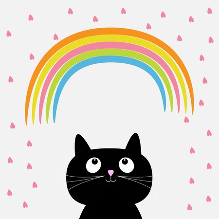 Rainbow and pink heart rain with cute cartoon cat. Flat design style. Vector illustration Vector