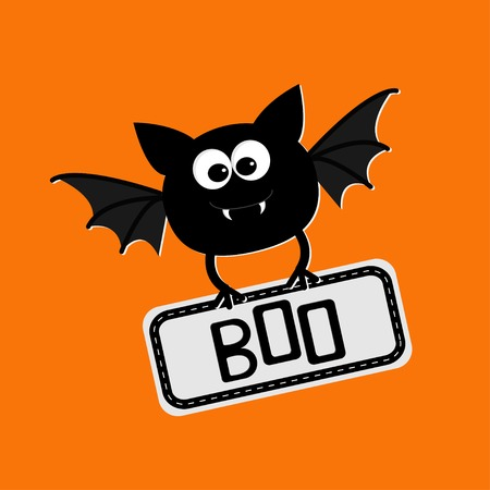 Cute bat with plate boo. Happy Halloween card. Flat design. Vector illustration
