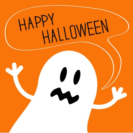 cute ghost: Cute ghost monster with speech text bubble. Happy Halloween card. Flat design. Vector illustration