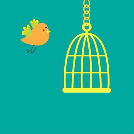 Golden birdcage cell. Flat design style. Vector illustration Vector