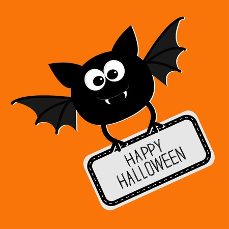 Cute bat with plate Happy Halloween card. Flat design. Vector illustration