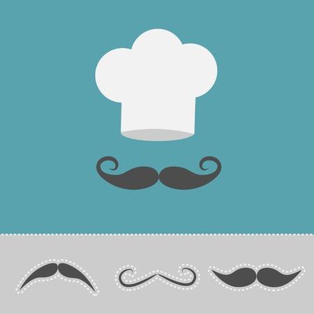 gorro chef: Sombrero del cocinero y bigote conjunto. Tarjeta del menú. Estilo de diseño Flat. Ilustración vectorial