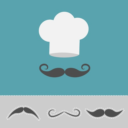 Chef hat and mustache set. Menu card. Flat design style. Vector illustration