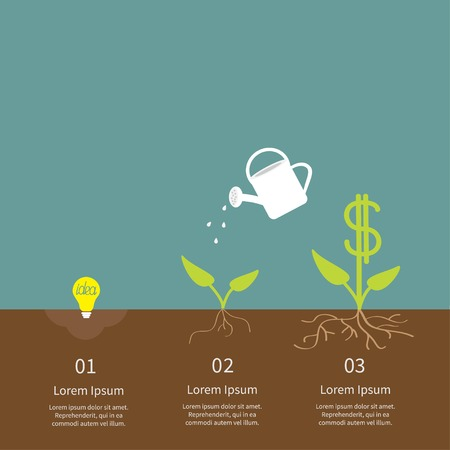 Idea bulb seed, watering can, dollar plant infographic. Financial growth concept. Flat design. Vector illustration